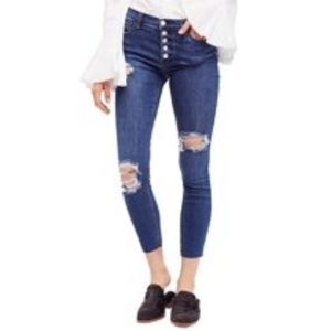 Free People Distressed Cropped Reagan Jeans